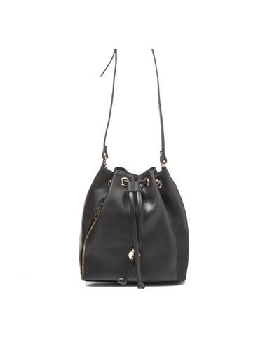 TH Bags TH Bags 2THCW2020206 Suni Deri 2 Bölmeli Kadın Çapraz Çanta Siyah